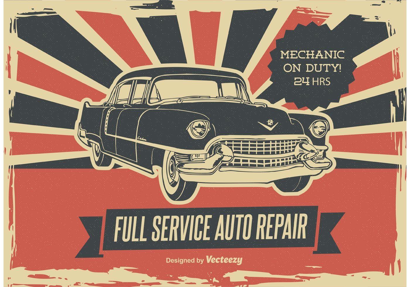 old advertising graphic engine Car Repair Poster