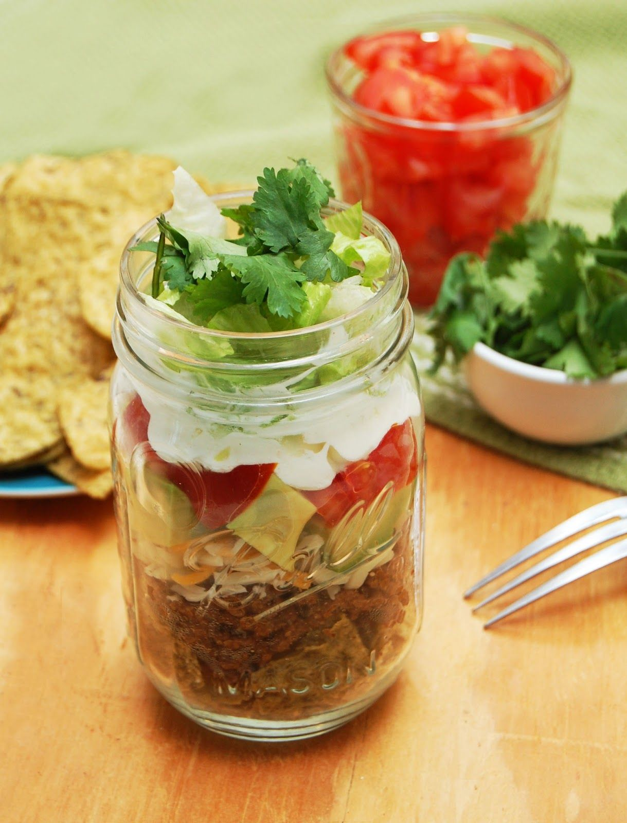 Walking tacos in mason jars. Gluten free and perfect for Cinco de Mayo!