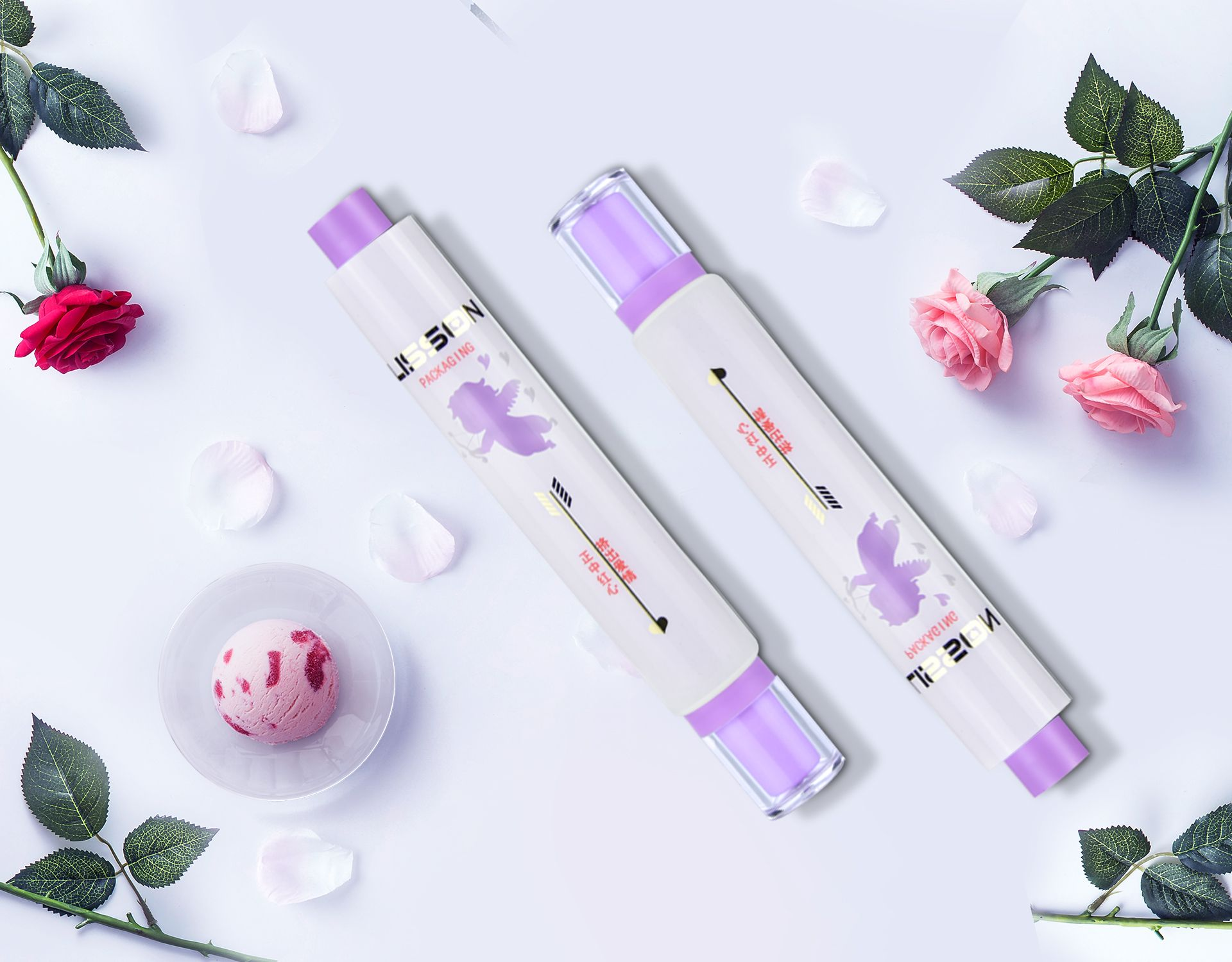 Mini cute round dual chamber tube packaging for skincare