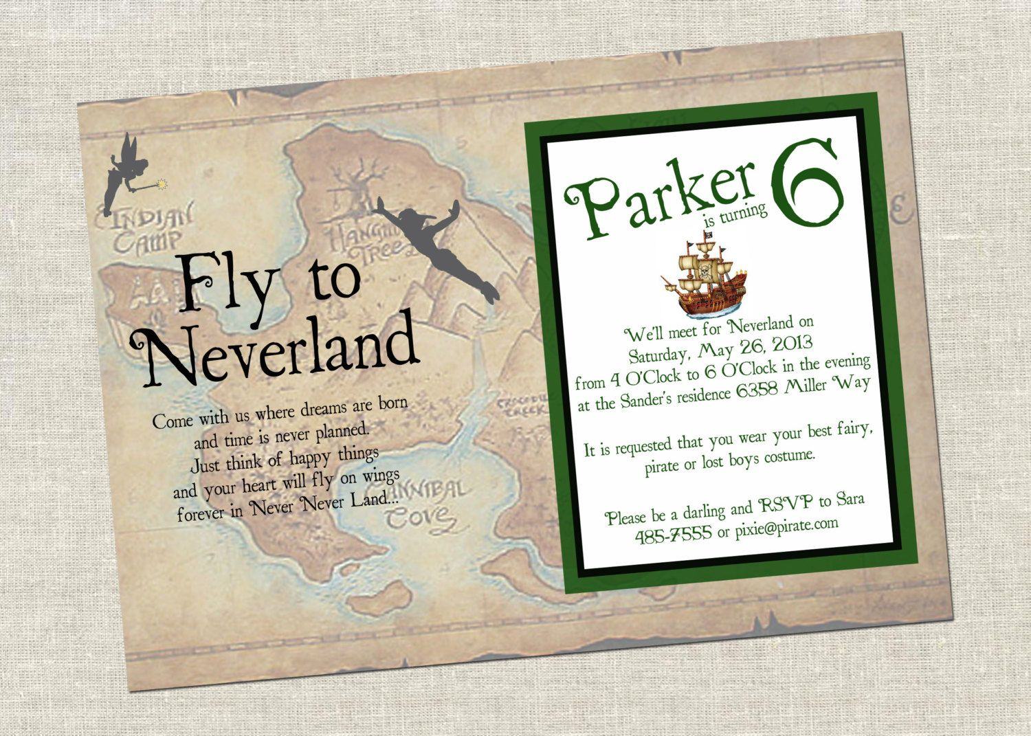 Finding Neverland Birthday Invitation. $10.00, via Etsy. | Liams ...