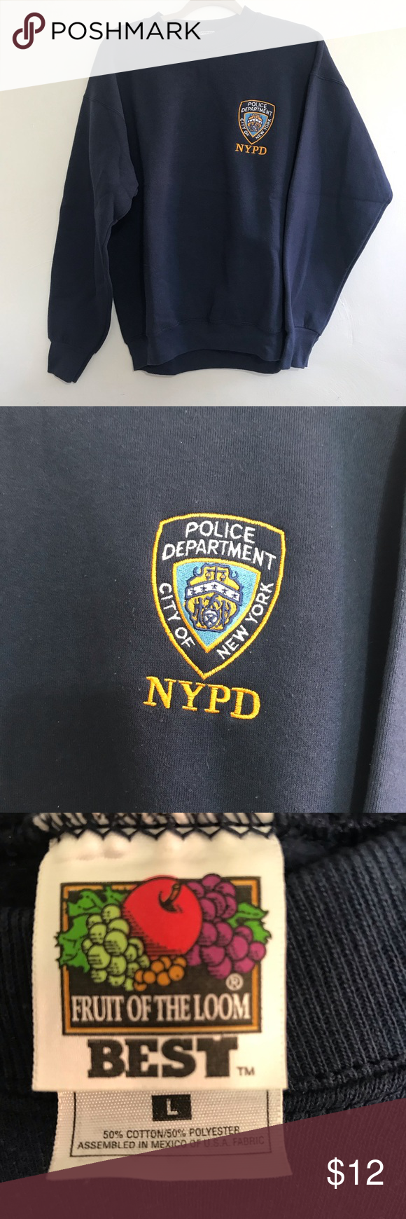 71e55ad3 Vintage NYPD sweatshirt Vintage NYPD New York Police Department sweatshirt  With embroidered logo Shirts Sweatshirts & Hoodies