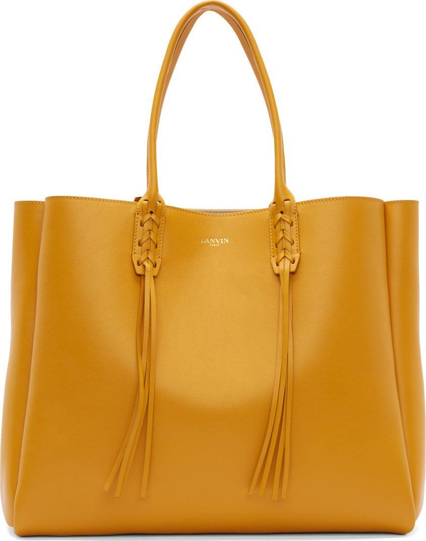 d3bb4ff186 Lanvin Golden Yellow Calf Leather Fringed Shopper Tote Bag