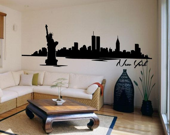 Nyc New York City Skyline Silhouette Mural By Parklanecouture 29 99 Decorating Small Spaces Room Decor New York Pictures