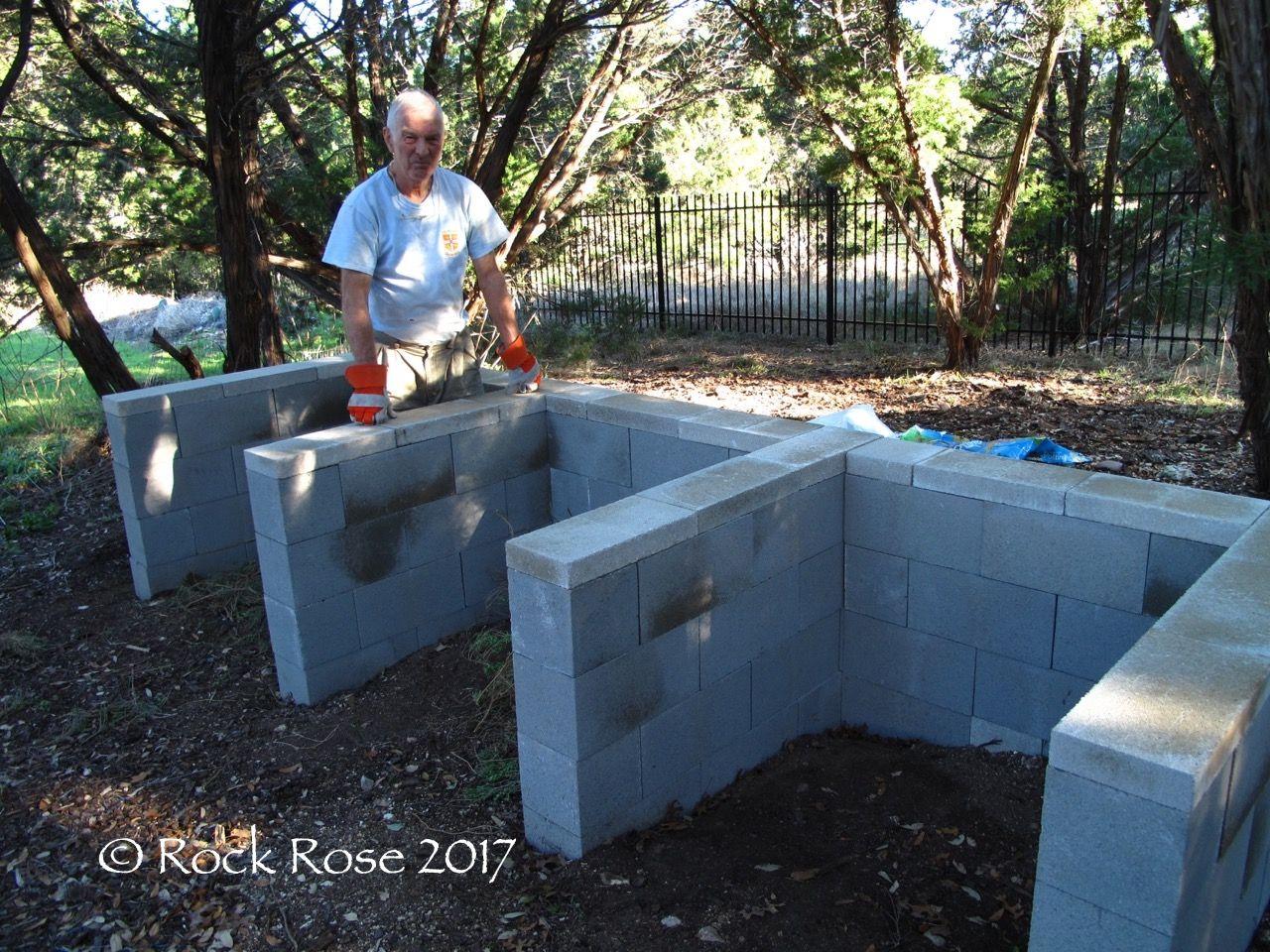 Compost bins made of cinder blocks | Rock Rose | Central Texas ...