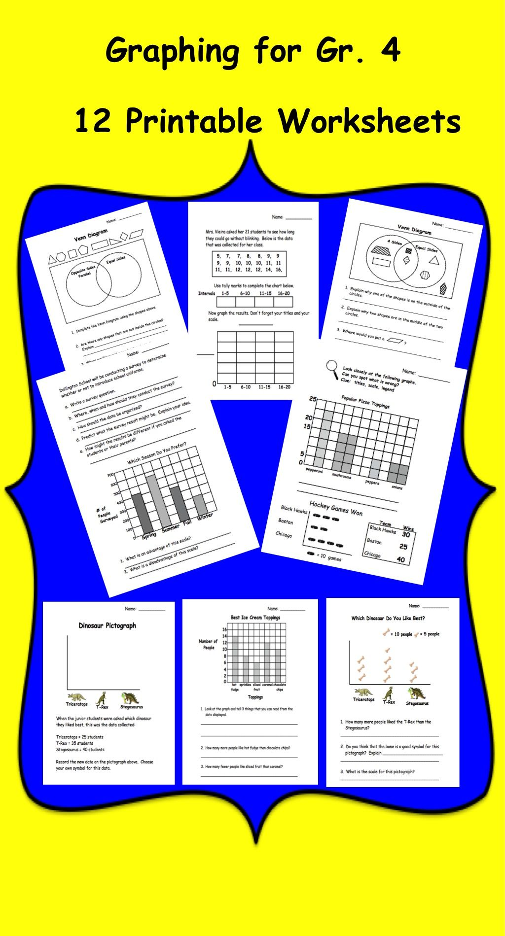hight resolution of Graph Printables (PDF) for Grade 4   Fourth grade math