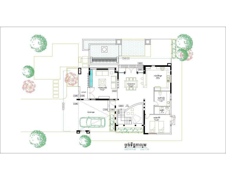 4 Bedroom Home Plan Full Exterior And Interior 10x15 6m Samphoas Plan House Plans Modern Villa Design Home Design Plans
