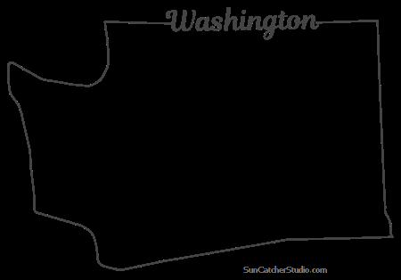 Washington Map Outline Printable State Shape Stencil Pattern Washington State Outline State Outline Washington Map