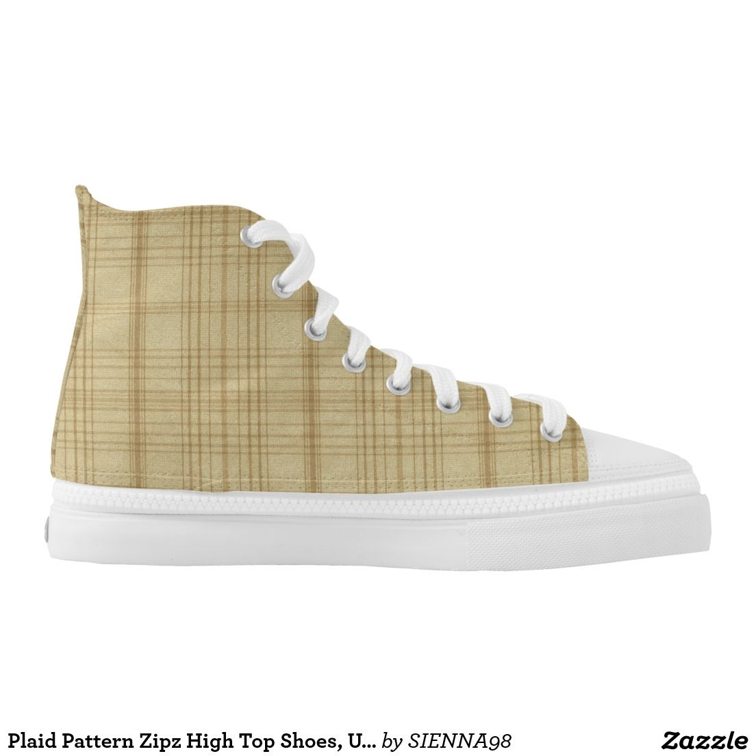 Plaid Pattern Zipz High Top Shoes, US Wome Printed Shoes