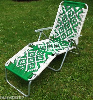 Woven macrame aluminum folding webbed lounge chaise beach for Aluminum folding chaise lounge