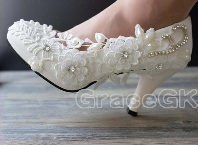 Lace White Ivory Crystal Wedding Shoes Bridal Flats Low High Heel Pump Size 5 12 Crystal Wedding Shoes Wedding Shoes Lace Bridal Shoes