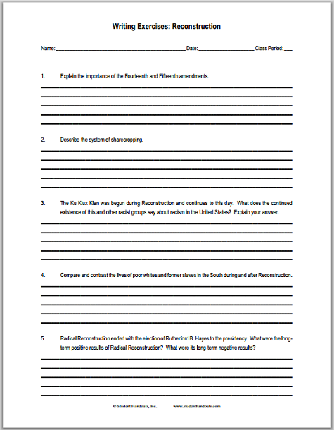 Reconstruction Essay Questions  Free To Print Pdf File For United  Reconstruction Essay Questions  Free To Print Pdf File For United States  History Students