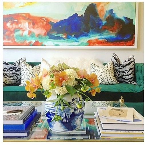 Loving this vibrant home of @helenrhoward featuring our white tiger pillow.