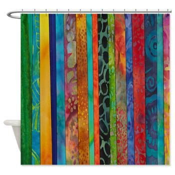 Artistic Shower Curtain Travel To Bali Jewel Tone Batik Stripe
