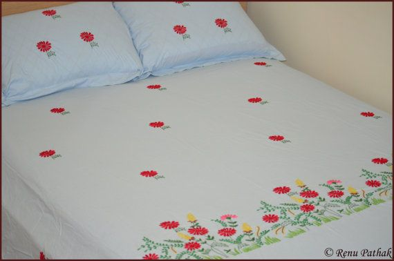 Hand Embroidery Bed Sheet And Pillow Cover By Renuartwork On Etsy