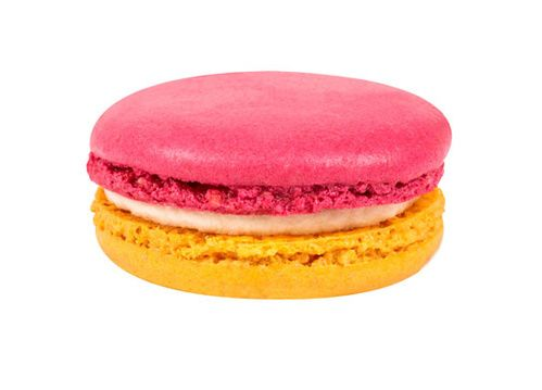 Macaron Pucci citron rose, garni d'un crémeux au citron aux notes de rose, 2 euros pièce