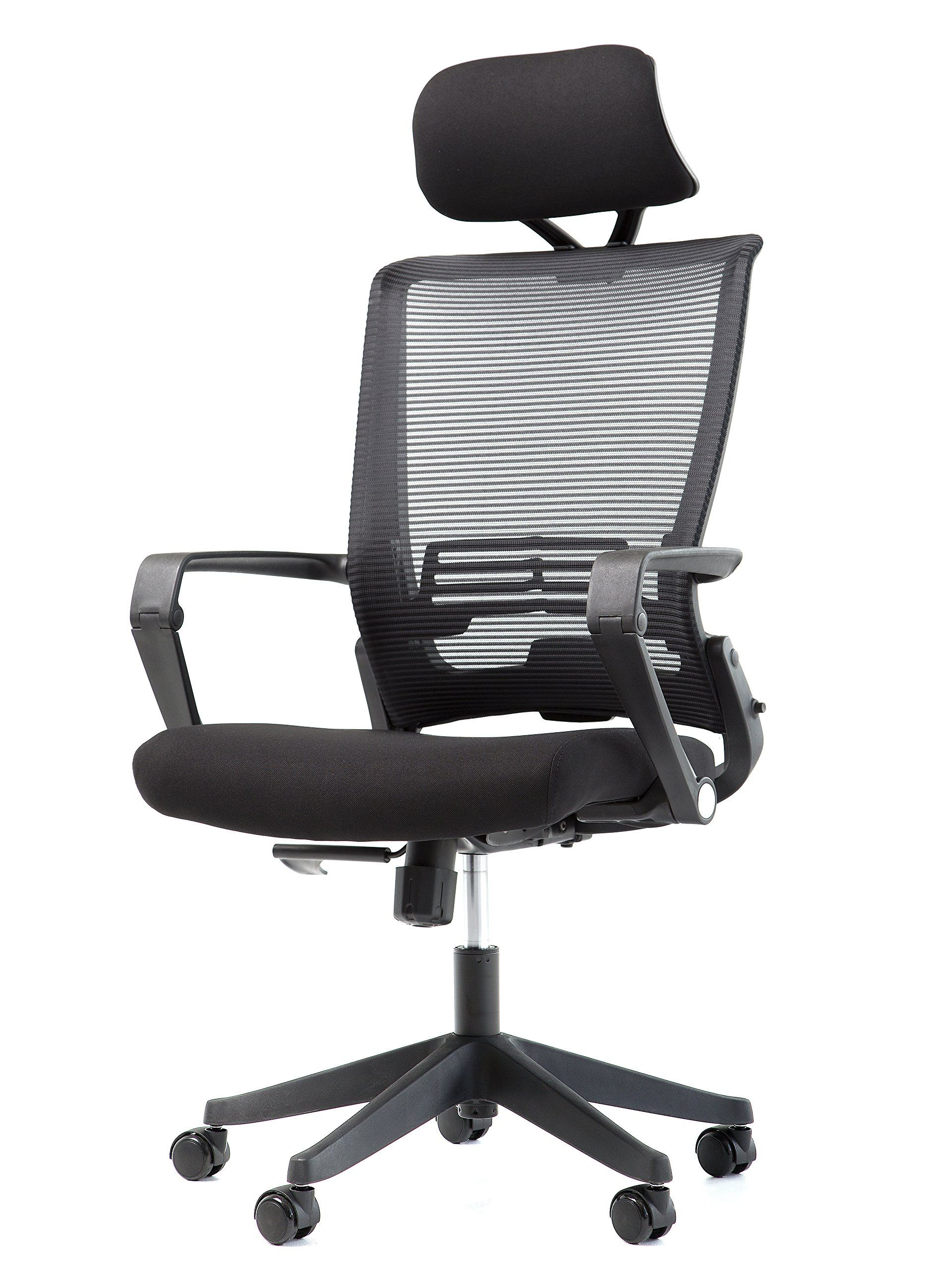 OFFICE FACTOR Mesh Back Office Chair with Headrest- Folding Office