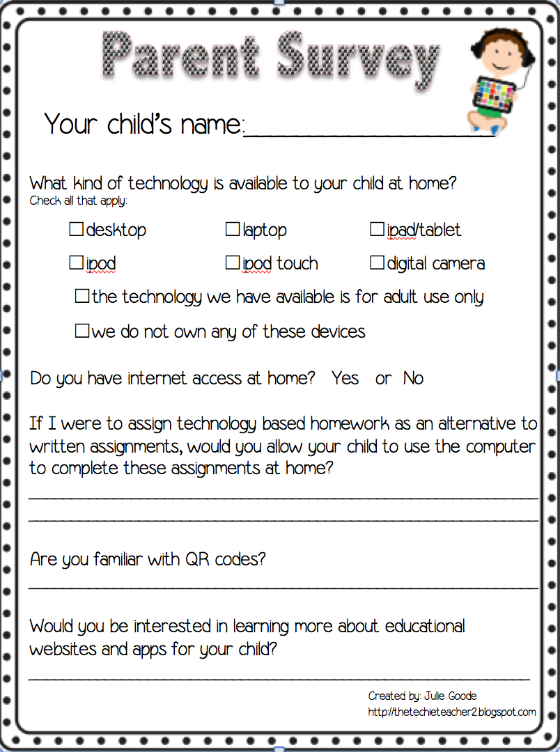 Parent Technology Survey Freebie  Technology In Education