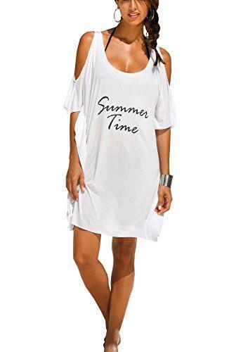 790e8bad1d Women's Baggy Swimwear Bikini Cover-ups/beach Dress/night T-shirt(FBA)  (Free size, White-summer time)