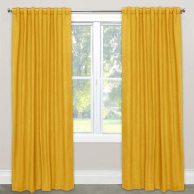 Skyline Furniture Linen Blend 120 Rod Pocket Back Tab Window Curtain Panel In Yellow