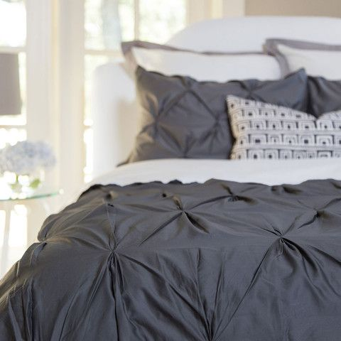 Bedroom inspiration and bedding decor | The Valencia Charcoal Gray Pintuck Duvet  Cover | Crane and