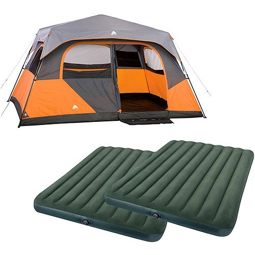 Ozark Trail Weatherbuster 9 Person Dome Tent With Two Bonus Queen Airbeds Value Bundle Walmart Com Cabin Tent Tent Ozark Trail
