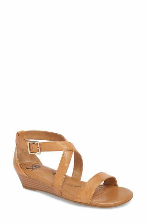8ba54177fa Bass Jolie - Whiskey Leather Strappy Low Wedge Sandal in 2019 | on foot | Low  wedge sandals, Low wedges, Sandals