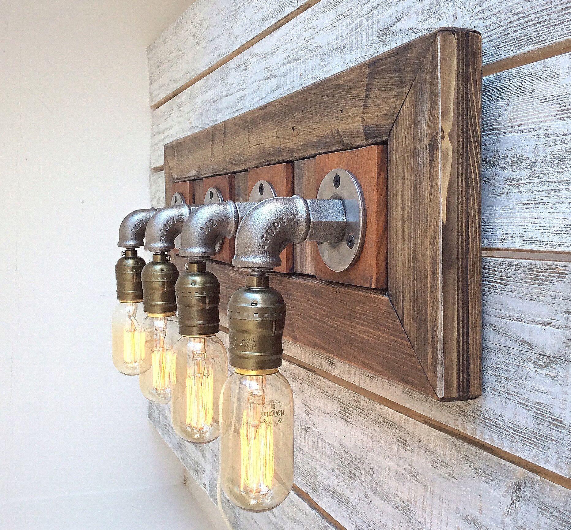 Baño VANITY Accesorios de luz, Vanidad de baño rústico ...