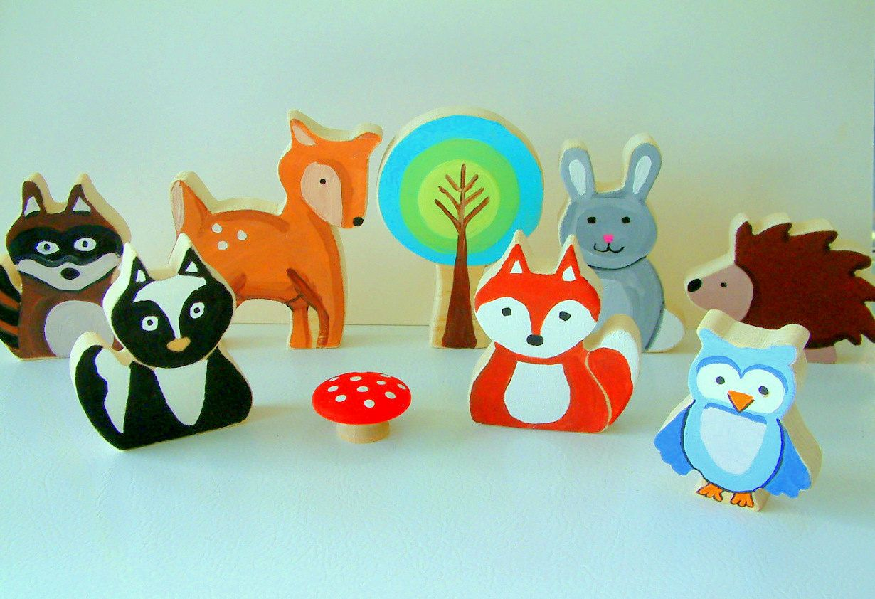 Toys for kids 8 and up  Woodland Animal Family  All Wood Toy Set   Piece Set  via
