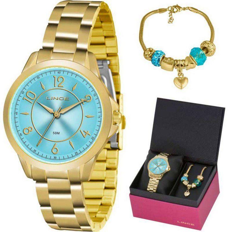 e935309c68b Kit Relogio Feminino Lince Dourado Fundo Azul Lrg4504l Ku50 ...