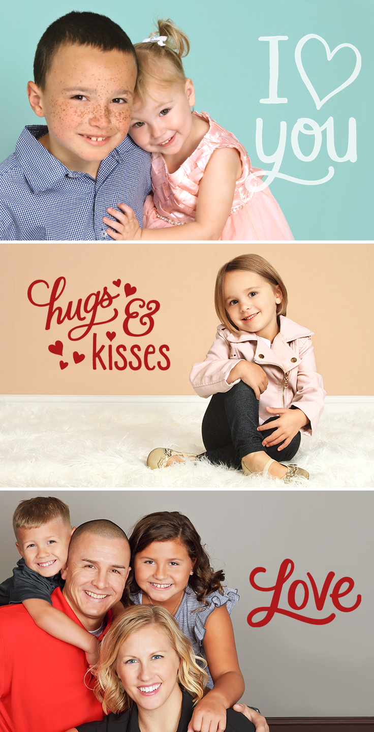 Love is in the air! Enhance your favorite in-studio photos with our Valentine's Day Design Overlay options. Perfect for family photos, newborn sessions, and much more.