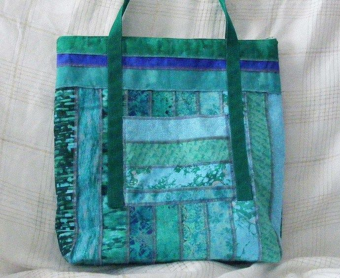 Great for that 4th of July Beach Party Sea Foam Blue Stripped Large Tote Bag  by MASBags, $30.00 USD
