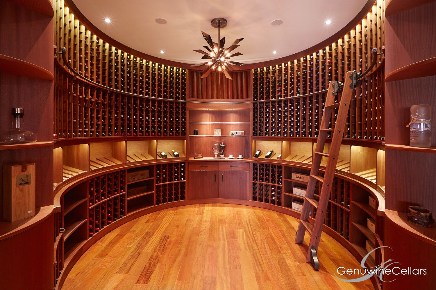 Custom Rolling Ladder Semi Circle 8ft High Wine Cellar Style The Curve By Genuwine Cellars Wine Cellar Wine Room Design Custom Wine Cellars