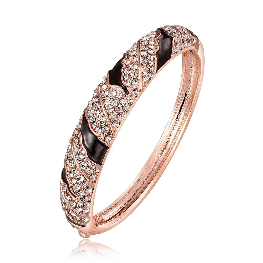 Dilanco k rose gold plated womenus bangle with autrian crystals