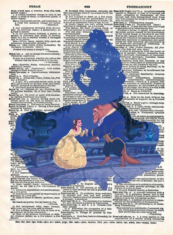 Beauty and the Beast Dictionary Art Print - Het beest, Illustratie en Belle