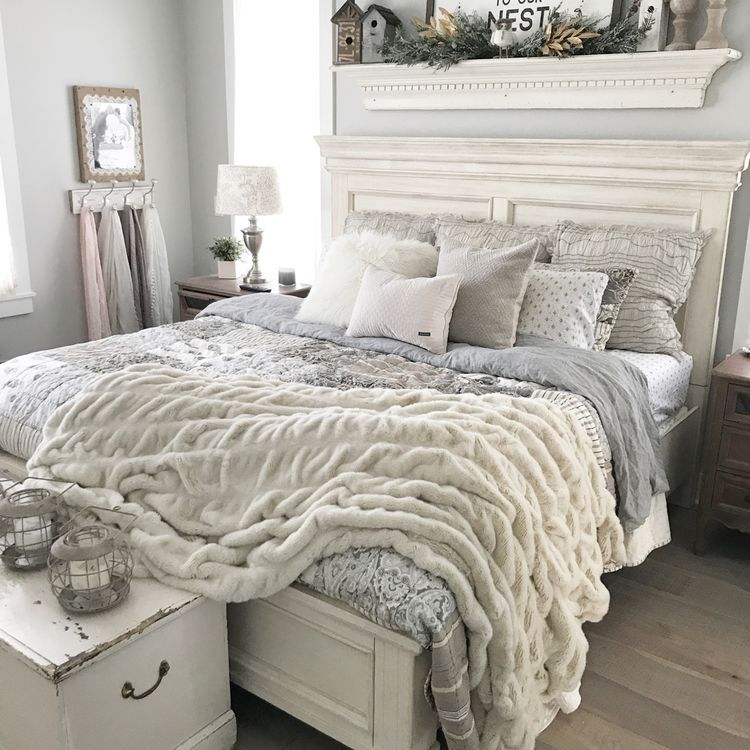 Oatmeal and gray farmhouse bedroom with Repose Gray paint ...