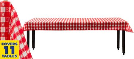 Red Gingham Plastic Table Cover 54 In X 108in Party City Gigi S