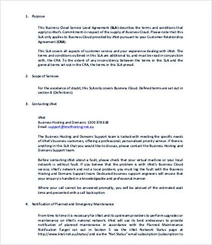 Business Service Level Agreement Template , Service Level - service level agreement template