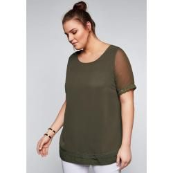 Photo of Large sizes: blouse shirt in a short sleeve material mix, dark khaki, size 46 SheegoSheego