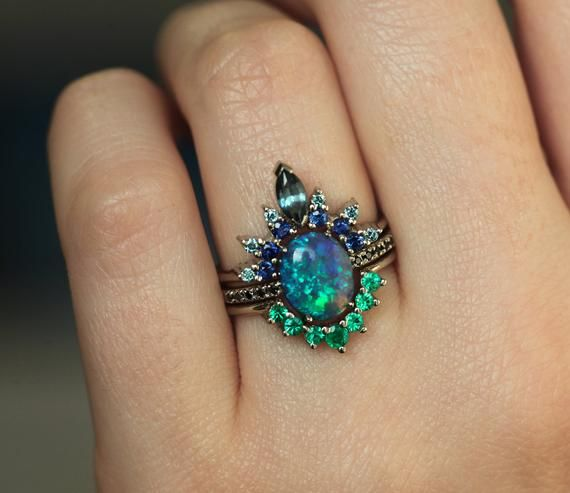 Lagoon Ring Set, Black Opal Ring With Sapphire and
