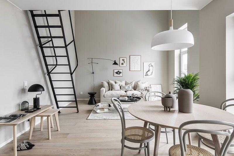 Small Scandinavian apartment with mezzanine in beige tones ...