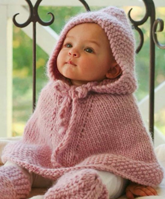 Knitted Hooded Baby Poncho Pattern Free #babyponcho
