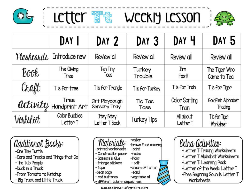 Letter T Free Preschool Weekly Lesson Plan Letter Of