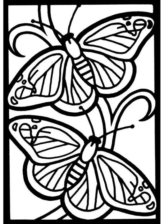 Coloring Page Butterflies Stained Glass Mosaic Patterns Pattern