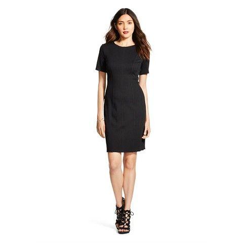 Women's Shortsleeve Scuba Sheath Dress - Black - Spenser Jeremy
