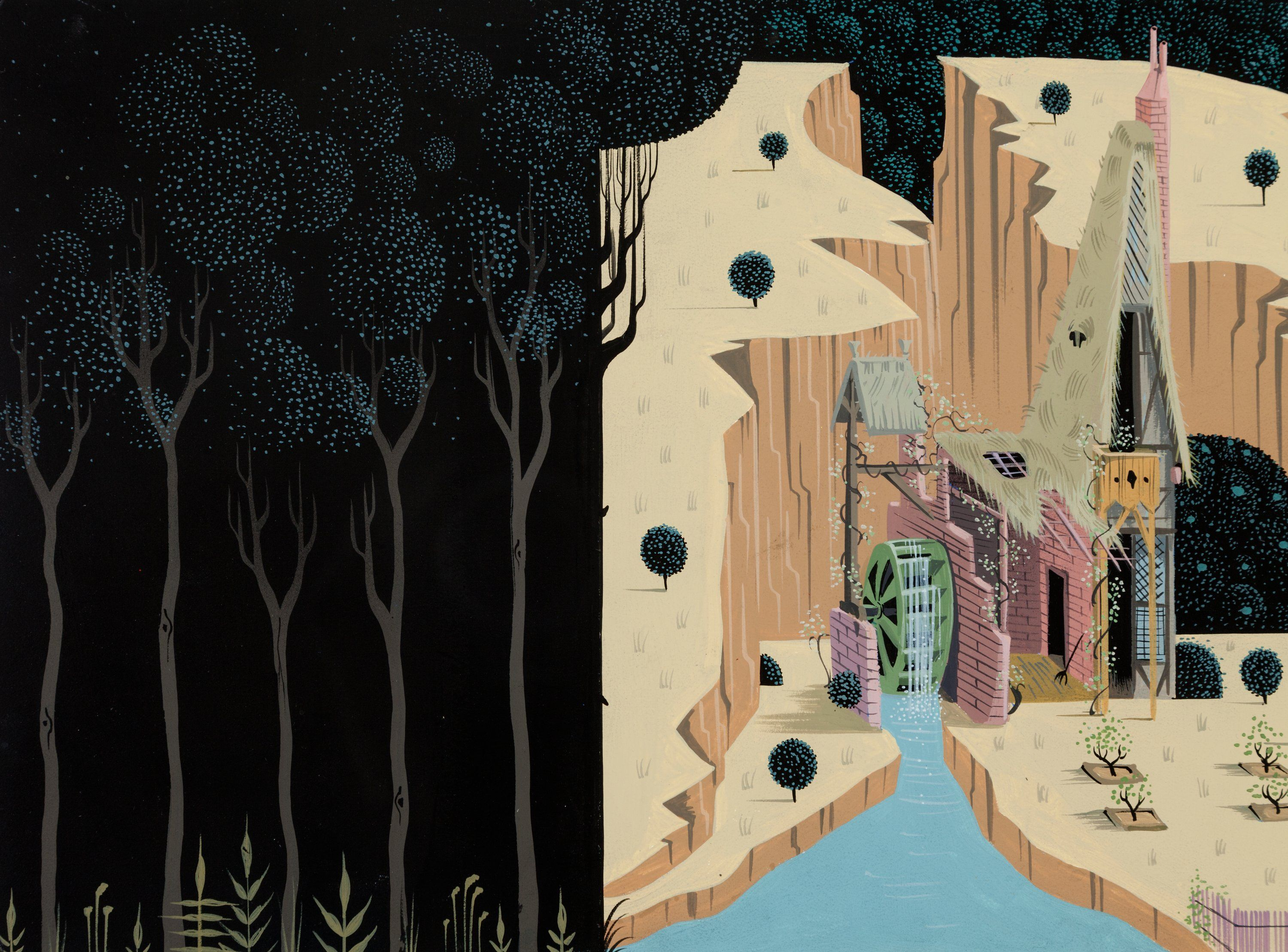 Eyvind Earle Sleeping Beauty Briar Rose And Woodcutter S Cottage Concept Painting Walt Disney 1959 Disney Sleeping Beauty Briar Rose Art