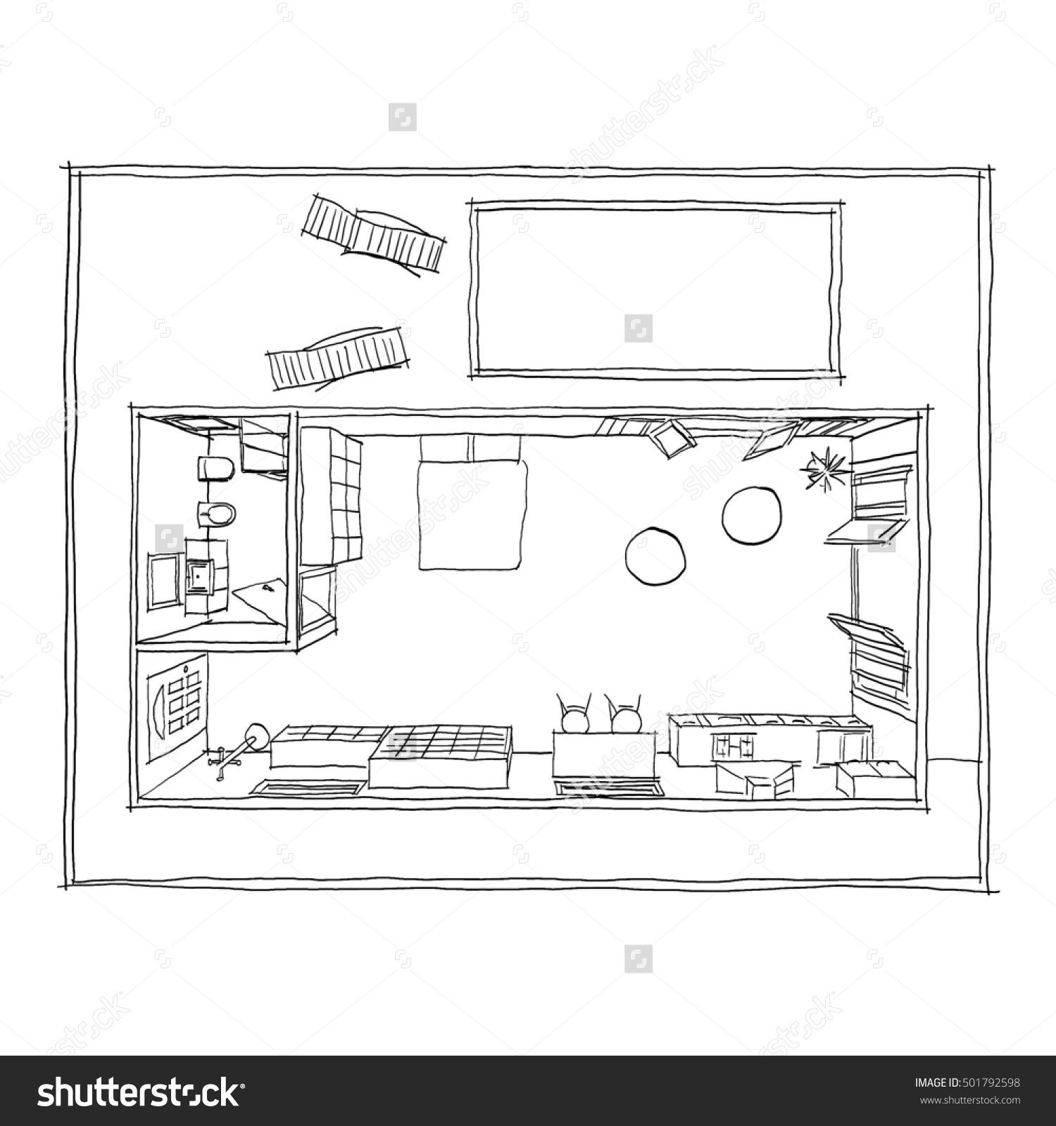 Black Pen Freehand Sketch Drawing Of Furnished Bungalow Loft Home Apartment With Swimming Pool