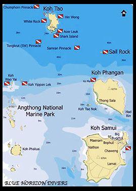 Koh Phangan Thailand Map.Koh Phangan Area Map Blue Horizon Diving And Adventures Haad Yao