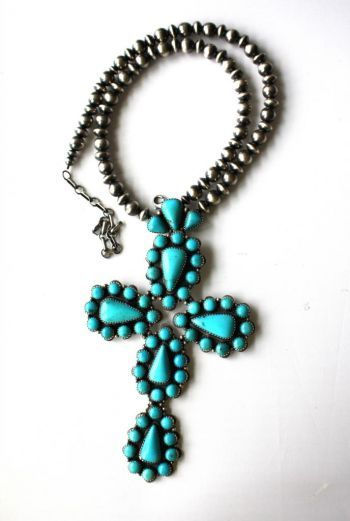 Jewelry :: AMAZING HUGE TURQUOISE CROSS AND NAVAJO PEARL NECKLACE - Native American Jewelry|Ladies Western Wear|Double D Ranch|Ladies Unique...