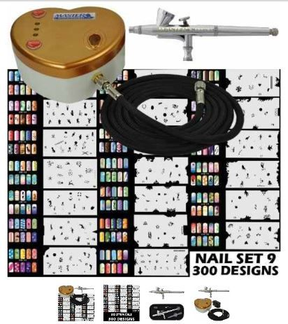 Nail Art Airbrush Machine And Stencils