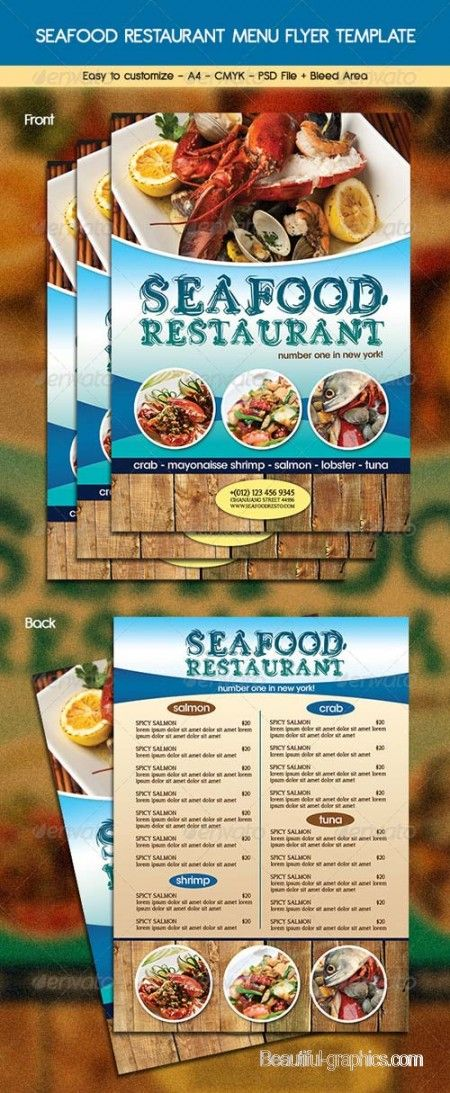 Seafood Restaurant Menu Flyer Template  Menu Design
